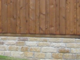 Mortared retaining wall photo